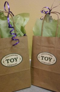 $50 gift cards to Cedarburg Toy Company, awaiting the winners!